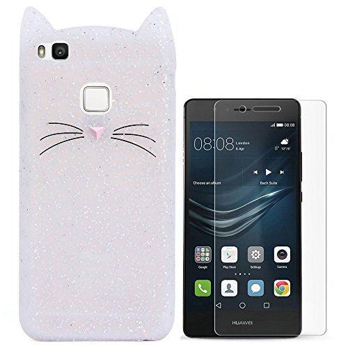 Hcheg 3D Silikon Schutzhülle Tasche für Huawei P9 lite Hülle Katze Design (Klar) Case Cover + 1X Screen Protector