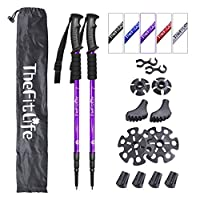 thefitlife nordic walking trekking poles - 2 pack with antishock and quick lock system, telescopic, collapsible, ultralight for hiking, camping, mountaining, backpacking, walking, trekking