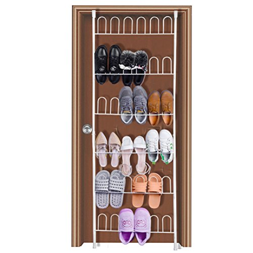 HBlife 18 Pares de zapato Metal Organizador Zapatos Armario Colgante Zapatero de Almacenamiento Con 6 Colgador para Colgar la Puerta Blanco
