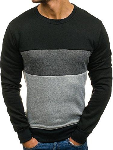BOLF Herren Pullover Sweatshirts Langarmshirt Rundhals MIX Basic Schwarz_J36