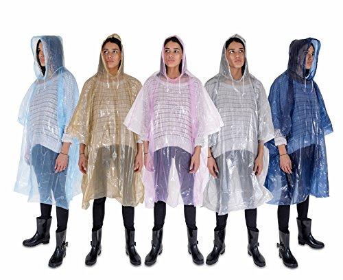 FurrySmile Regenponcho: Leichte, Wasserdichte Regenbekleidung mit Kordelzug Kapuze: 5 Pack: Notfall-Einweg-Regenponchos in Pink, Blau, Marineblau, Silber & Gold: dickeres Material und verpackbar