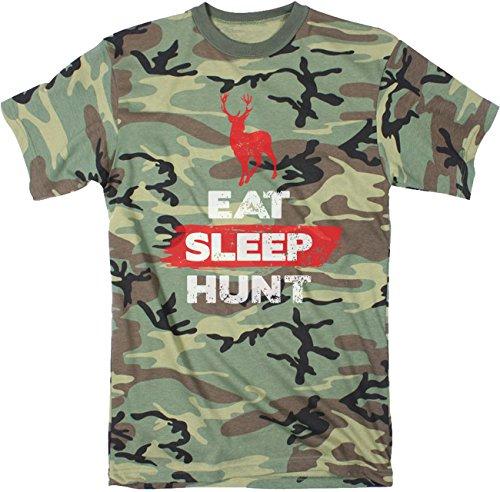 Crazy Dog Tshirts Mens Eat Sleep Hunt Funny Deer Hunting Camouflage Print T Shirt (Camo) XL - Herren - XL (Dog Militär T-shirt)