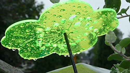 3 x Suncatcher fleurs attrape soleil vert fluo 15 cm en plexiglas avec baguette en fibre de verre - 30 cm