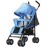 Práctico cochecito plegable para cochecito con ruedas delanteras de suspensión, asiento liso ajustable con asiento diario para cochecito de viaje, 40.2 * 9.11 * 1.1 / pulgada (Color : Azul)