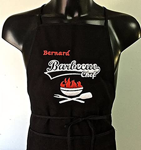 Personalised Embroidered Kitchen Apron Barbecue Name a Define BRABECUE CHEF NOIR