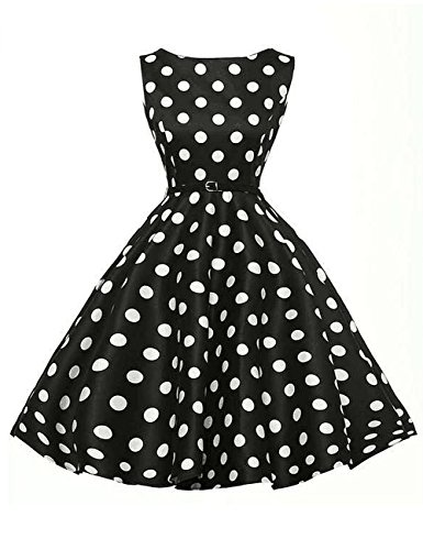 dragonpad-womens-1950s-vintage-polka-dot-sleeveless-swing-dresses-with-belt-black-xl
