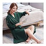 GAOHUI Männer Frauen Baumwolle Herbst Lounge Bademantel Koreanisch Liebhaber Bademantel, Einem Grünen Holz Frau, L