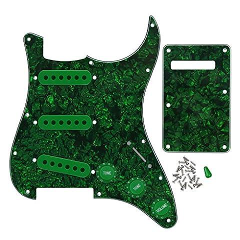 FLEOR E-Gitarre Pickguard Backplate Set mit 2t1V-Control Regler 52mm Pickup-Kappen Toggel Schalter Tipps für Fender Strat Gitarre, grüne Perle
