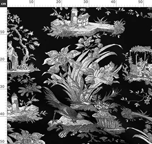 Toile De Jouy, Chinoiserie, Asiatisch, Schwarz Und Weiß, Schwarz, Stoffe - Individuell Bedruckt von Spoonflower - Design von Peacoquettedesigns Gedruckt auf Baumwoll Spandex Jersey (Asiatische Toile Stoff)