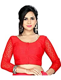 Studio Shringaar Party Red Solid Short Sleeve Non-Padded Blouse