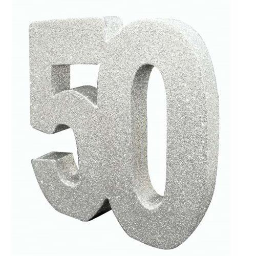 e369063c28 Décoration de table 50 ans argent pailleté 20 x 20 cm