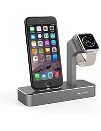 iVAPO 2 en 1 Station pour Apple Watch, iPhone 7 Plus, iPhone 7, iPhone 6 Plus, iPhone 6s Plus, iPhone 6, iPhone 6s, iPhone SE, iPhone 5, iPhone5s [Gris, Sans Chargeur et Câble ]