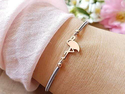 925 Roségold Flamingo Armband, größenverstellbar und als Geschenk verpackt mit Geschenkkarte SelfmadeJewelry