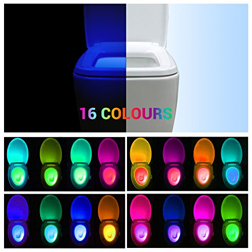 Preisvergleich Produktbild REACHOPE WC Nachtlicht Klobeleuchtung Toilettenbeleuchtung Led mit Bewegungsmelder Toilette Lampe für alle Toilette - 16 Farbewechsel