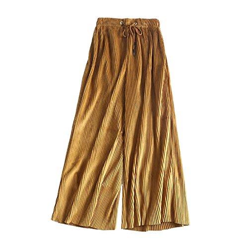 COCO clothing Donne Casual Pantaloni Gamba Larga di Velluto Gamba Larga Flare Lungo Svasato Pantaloni Giallo