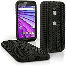 igadgitz Negro Neumático Silicona Gel Goma Funda Carcasa per Motorola Moto G 3 ª Generación 2015 XT1540 (G3) Case Cover + Protector Pantalla