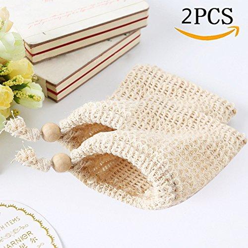 Ailiebhaus Seifensäckchen, 2 Stk Seifenbeutel aus Naturfasern zum aufschäumen und trocknen der Seife