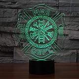 Lixiaoyuzz 3D Veilleuses Forme Lampe De Bureau Led Chambre À Coucher Sommeil Pompier...