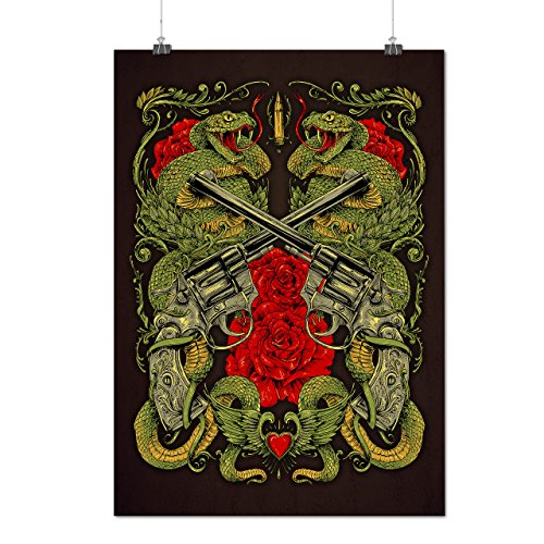 Drachen Gewehr Rose Gangster Mattes/Glänzende Plakat A3 (42cm x 30cm) | (In Vancouver Gesellschaft Kostüm)