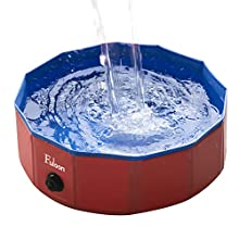 Fuloon Foldable Dog Paddling Pool Puppy Cats Swimming Bathing Tub Pet Children Kid Ball Water Ponds (Red/Blue, φ80*20H)