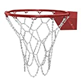 TRIXES Hochbelastbares und langlebiges Metall-Pro (Ersatz) Basketballnetz in Silber mit S-Haken , Standardgröße