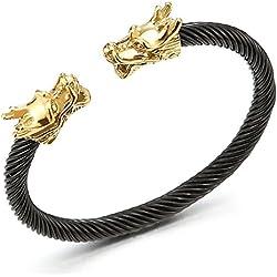 única Elástica Ajustable Oro Negro Brazalete Dragón de Hombre, Cable de Acero Inoxidable