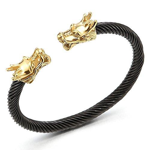 Einzigartiges Elastische Verstellbare-Gold Schwarz Drachen Herren Armband Edelstahl Verdrehten Stahlkabel Armreif (Drache Charm-armband)