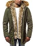 OZONEE Herren Winterjacke Parka Jacke Kapuzenjacke Wärmejacke Wintermantel Coat Wärmemantel Warm Modern Camouflage Täglichen N/5578 GRÜN M