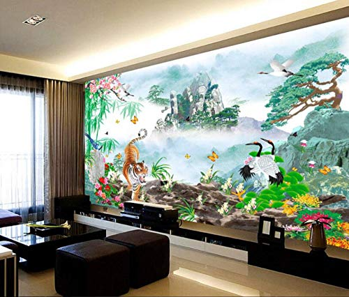 Minyose Large custom wallpaper Tiger Egrets Hand-painted scenery Mountain downhill Photo 3D wallpaper painting mural-350cmx245cm Tiger Wallpaper Set