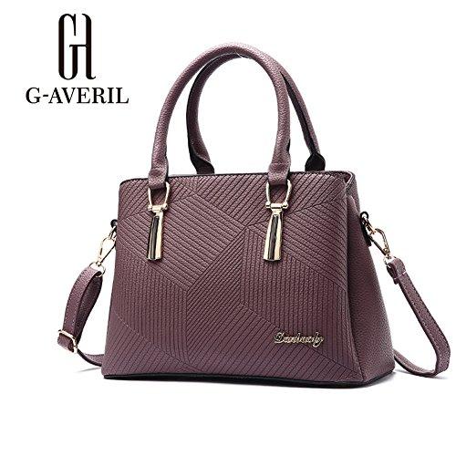 (G-AVERIL) PU pelle Donna borsa Designer Bag Fashion Borsa a Spalla Borse a Mano viola