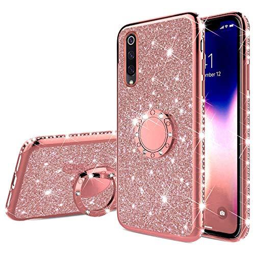 Uposao Kompatibel mit Xiaomi Mi 9 Handyhülle mit 360 Grad Ring Ständer Glitzer Bling Strass Diamant Mädchen TPU Silikon Clear Hülle Schutzhülle Durchsichtig Tasche Case,Rose Gold
