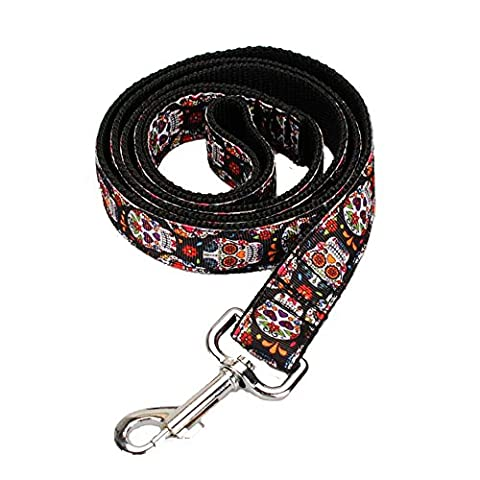 [AIDIYA] Design Print Skull and Crossbones dog collar and lead sets for Luxury Dogs Leads Dog Lead Christmas Handle Strong (150cm)