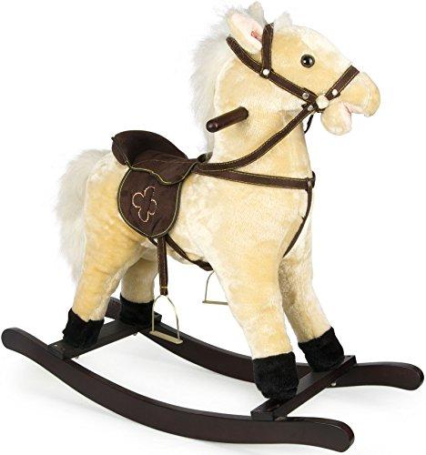 LEOMARK Holz Schaukelpferd Schaukeltier Classic Plüsch Schaukel Babyschaukel Pferd Baby Schaukelspielzeug Beige Farbe