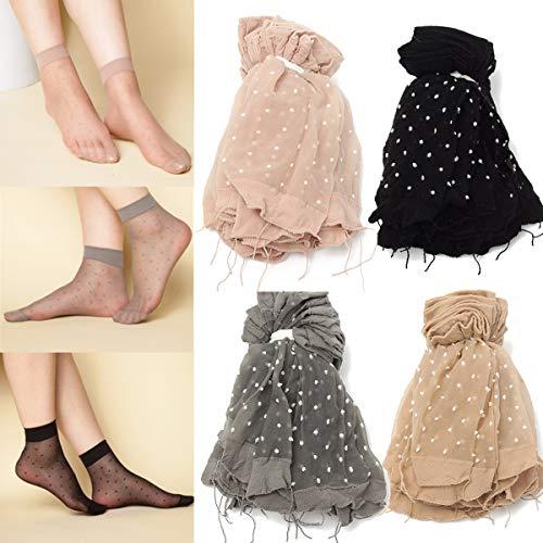 ERCZYO 10 Paar Frauen Mädchen Transparente Polka Dot Socken Spitze Ultradünne Faser Sheer Ankle Strumpfwaren (Color : Color Black, Size : One Size) - Polka Dot Kinder Socken