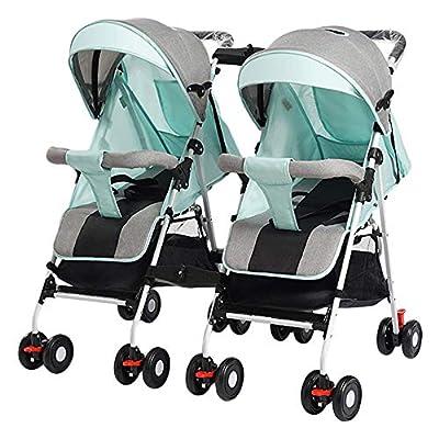 zxmpfg El cochecito doble liviano, desmontable, doble lado a lado, alto, fácil, plegable, recién nacido, disponible para viajar, puede sentarse reclinando un carrito de paraguas flexible