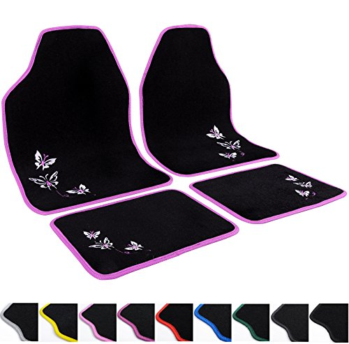 WOLTU AM7141 Auto Fußmatten Set UNI , Teppich , Stickerei Butterfly , Protector , 4-teilig , universal Matten , Rosa / Schwarz