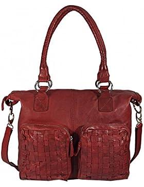 Casallo - Ledertasche Shopper Schultertasche URBAN BAG Used-Look Washed Flechtmuster Damen Handtaschen 42x32x11...