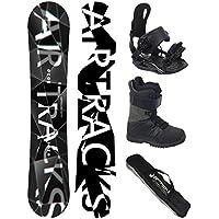 Airtracks Snowboard Komplett Set/REFRACTIONS GAME WIDE + Snowboardbindung Savage + Snowboardboots + Sb Bag / 155 159 161 165 171 cm