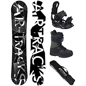 Airtracks Snowboard Komplett Set – REFRACTIONS GAME WIDE + Snowboardbindung Savage + Snowboardboots + Sb Bag / 155 159 161 165 171 cm