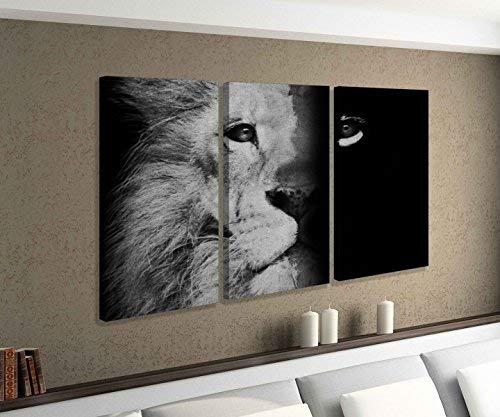 Leinwandbild 3 tlg Löwe Gesicht Hälfte Mähne Afrika abstrakte Kunst Vintage schwarz weiß Bild Bilder Leinwand Leinwandbilder Holz Wandbild mehrteilig 9W634, 3 tlg BxH:90x60cm (3Stk 30x 60cm)