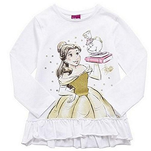 Girls Disney Beauty and The Beast Frill Trim Long Sleeve T-Shirt, Sizes 2-3 and 3-4 Years