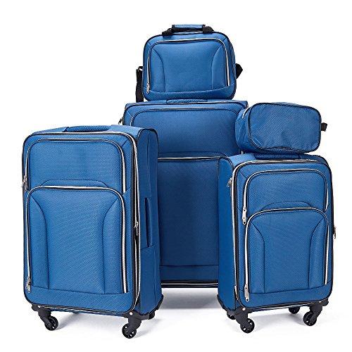 Fochier Espandibile Set di 5 Pezzi Softshell Valigia trolley da viaggio leggera,Azzurro