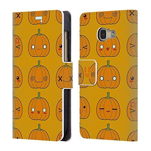 Head Case Designs Kürbis Muster Halloween Kawaii Brieftasche Handyhülle aus Leder für Samsung Galaxy A3 (2017)