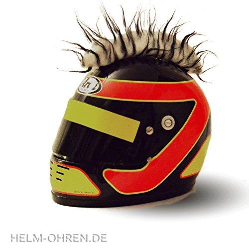 """Helm - Irokese """"Weiß- Schwarz"""" für den Motorradhelm, Crosshelm, Motocrosshelm - Helmirokese - Coole Helmdeko / Irokesenaufsatz - Punk Iro"""