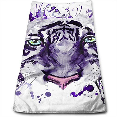 QuGujun Hand Towels White Tiger Premium Soft Polyester Lightweight Hand Towel,Travel Towel,Bath Sheet, 30cm X 70cm- Multipurpose Towels for Bath, Hand, Face, Gym and Spa (Türkis Papier-handtuch-halter)