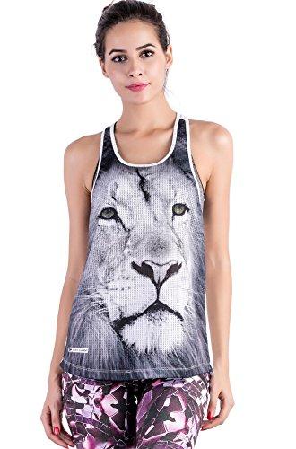 Cody Lundin Femme Débardeur Confortable Large Animal Imprimé Maillot, Sport Fitness Tank Top, T-shirt Sans Manches Décontraté Fille Style D