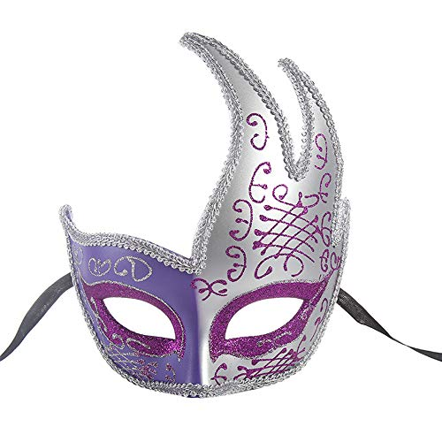 BLEVET Vénitien Masquerades Masques Costumes Carnaval Mascarade Halloween Mardi Gras Parti Cosplay Masque MZ073 (Purple)