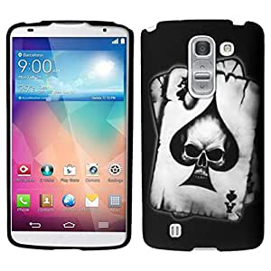 Zizo Rubberized Design Hard Snap-On Cover for LG G PRO 2 - Retail Packaging - Spade Skull