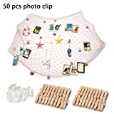 WOWOSS 40 x 79 inch Picture Photo Hanging Display DIY Fishing Net Wall Decor with Seashell (50pcs Clips, 10pcs Hidden Nails)