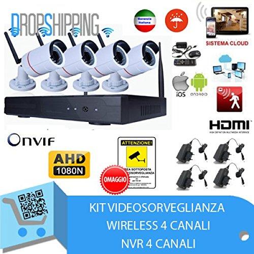 GENERAL TRADERS - Kit Videosorveglianza Wireless Full HD IP, 4 Telecamere 2 MPX, WIFI da Remoto. kit_wireless_inscatolato